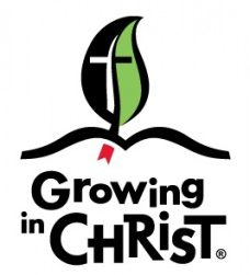 """Illustration of a leaf with a cross as the veins. Text reads """"Growing in Christ"""""""
