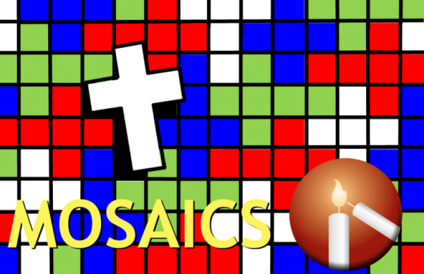 """An image a colorful mosaic with a cross and the Messiah logo on it, Reads """"Mosaics"""""""