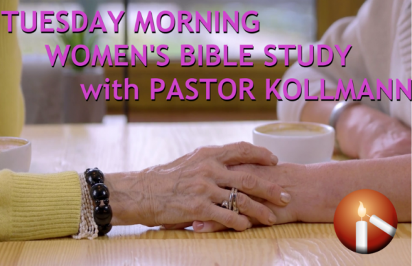 "Image of two women providing support and holding hands at a table while drinking coffee with text that reads ""Tuesday Morning Women's Bible Study with Pastor Kollmann"""