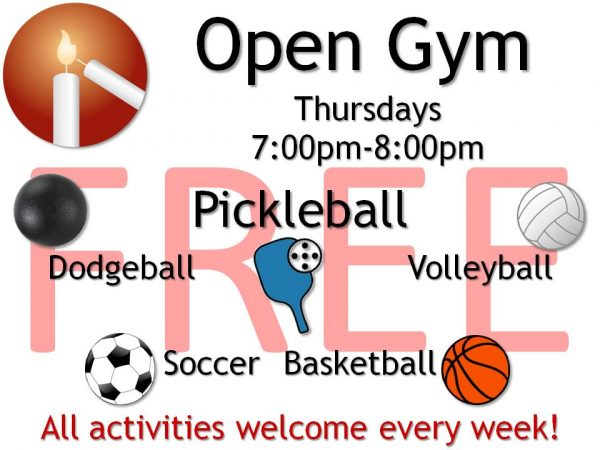"""Messiah Lutheran Sports and Recreation poster with simple graphics that says """"Low Impact Workout Monday, Tuesday, Thursday 9:30am-10:30am. Workout videos, pickleball, free coffee."""