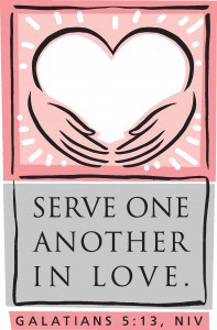 "Messiah Social Ministries Outreach logo that reads ""Serve one another in love. Galatians 5:13, NIV"""