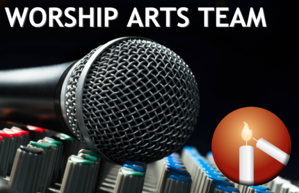 """Image of a microphone on sound board with text that reads """"Worship Arts Team"""""""