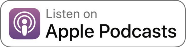 "Apple Podcast Logo with text ""Listen on Apple Podcasts"""