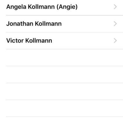 Screenshot of phone contact list showing the names of Angela Kollmann (Angie), Jonathan Kollman, and Victor Kollmann