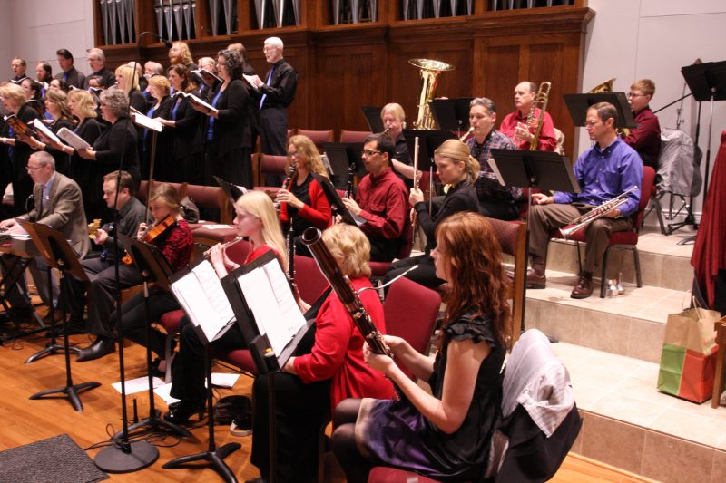 Messiah Lutheran Music Ministry playing together - looking at the wind instruments section
