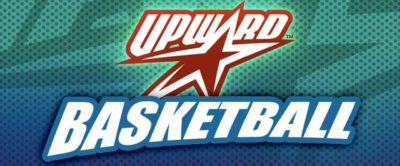A blue and green background with a red star and sporty text saying Upward Basketball