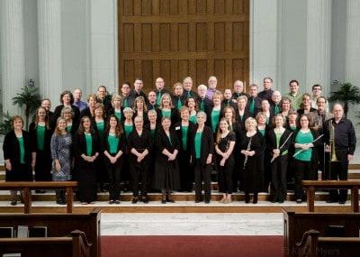 Messiah Lutheran Choir posing for a photo in the church