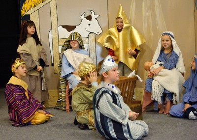 Children performing a nativity scene for Christmas pageant