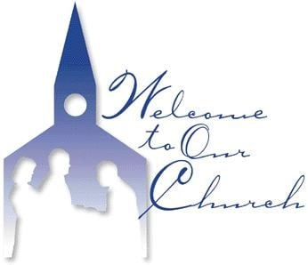"Blue icon of a church with text that reads ""Welcome to our church"""
